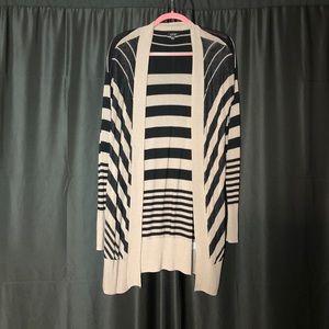 Apt. 9 Black and Cream Striped Long Cardigan M